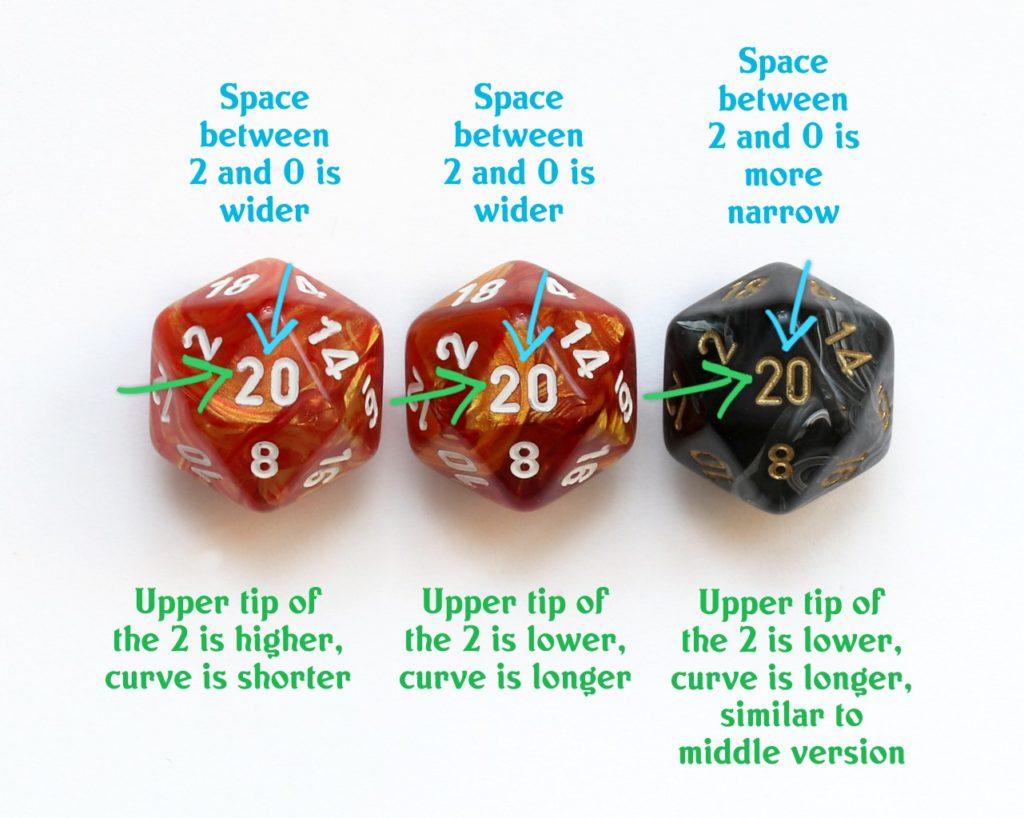 Chessex d20 font comparison